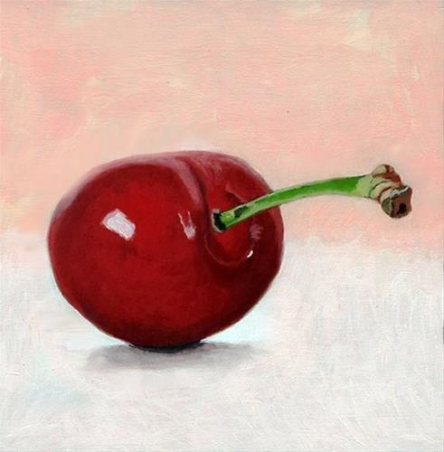 """still life painting of a cherry"" original fine art by Ria Hills"