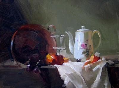 """Afternoon Tea"" original fine art by Qiang Huang"