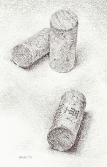 """Wine Cork Trio"" original fine art by Michael Naples"