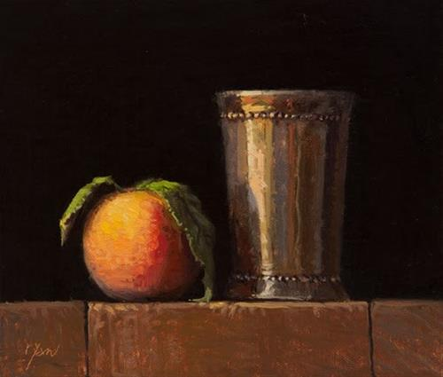 """""""Peach with Leaves and Silver Cup    (+ Artists of Yardley workshop)"""" original fine art by Abbey Ryan"""
