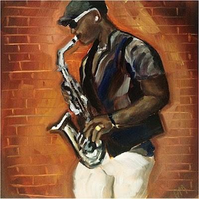 """""""Afternoon Sax"""" original fine art by Piya Samant"""