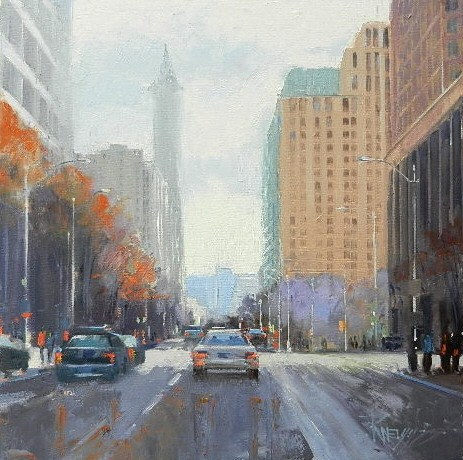 """""""South on Second Seattle city oil painting by Robin Weiss"""" original fine art by Robin Weiss"""