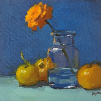 """Yellow Tomatoes --- SOLD"" original fine art by Carol Marine"