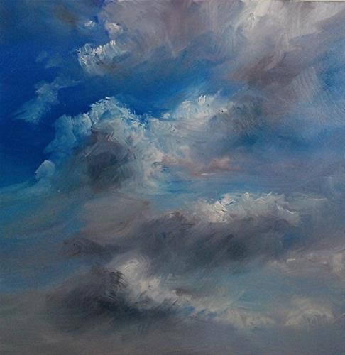 """Cloud Glory, 8 x 8 Oil, Landscape"" original fine art by Donna Pierce-Clark"