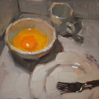 """Egg in a Corner"" original fine art by Carol Marine"