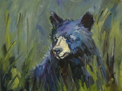 """BLACK BEAR Diane Whitehead Fine Art Oil Painting Animal Art"" original fine art by Diane Whitehead"