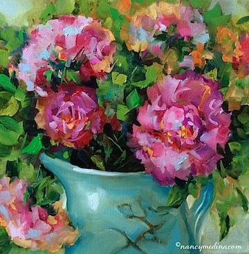 """Winter Warmth Peonies and True Confessions of the Flower Obsessed - Flower Paintings by Nancy Medina"" original fine art by Nancy Medina"