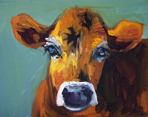 """""""COW CATTLE ART D WHITEHEAD DAILY PAINTING"""" original fine art by Diane Whitehead"""
