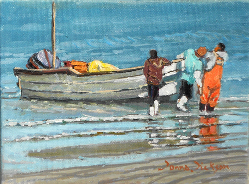 """'Hauling out'  Mazatlan"" original fine art by Donna Dickson"