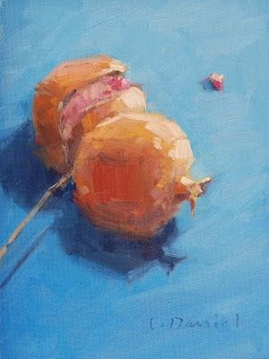 """""""Double Pomegranates"""" original fine art by Laurel Daniel"""