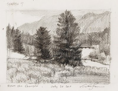 """""""Sketch #7- Down the Canyon-mountains,"""" original fine art by V.... Vaughan"""