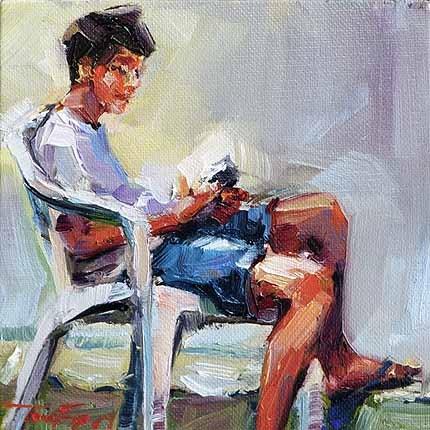 """""""Spielender Junge"""" original fine art by Jurij Frey"""