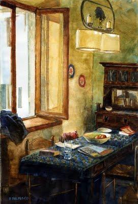 """""""Watercolor: Vacation Rental"""" original fine art by Belinda Del Pesco"""