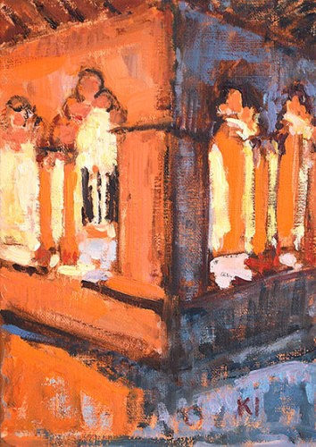 """""""The Cloister at Sant Pau del Camp"""" original fine art by Kevin Inman"""