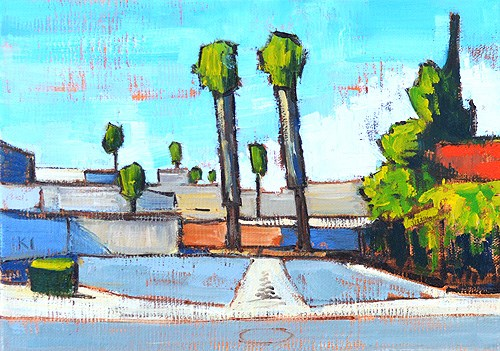 """""""Parking Lot Palms, Escondido Painting"""" original fine art by Kevin Inman"""