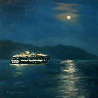 """Ship In The Night"" original fine art by Michael Naples"