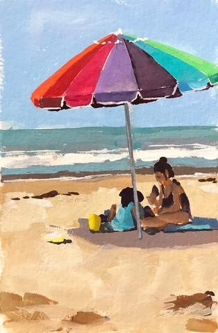 """Beach Day - Gouache"" original fine art by Sharon Schock"