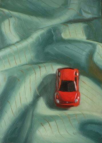 """Red bug 5x7 oil on board"" original fine art by Claudia Hammer"