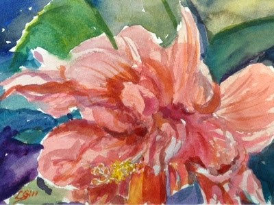 """""""#7/30 in 30 - Frilly Hibiscus"""" original fine art by Lyn Gill"""