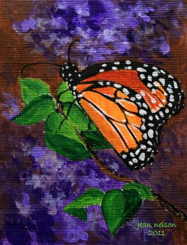 """Monarch and Hydrangeas"" original fine art by Jean Nelson"