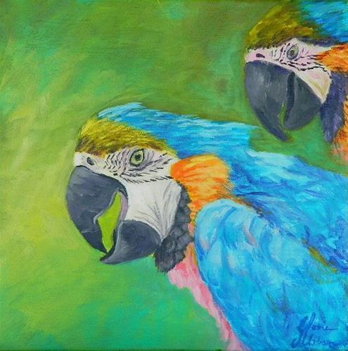 """Macaw Parrots"" original fine art by Gloria Urban"