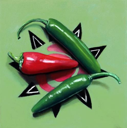 """hot chili peppers"" original fine art by Ria Hills"