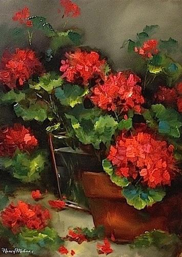 """""""Vero Amore Red Geraniums and Recycled Flowers in the Studio - Flower Paintings by Nancy Medina"""" original fine art by Nancy Medina"""