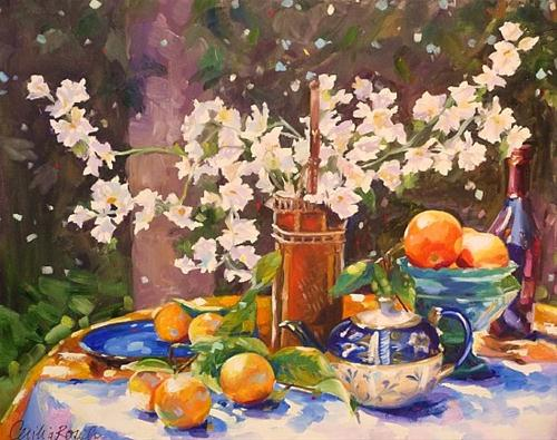 """""""Chinese Blossoms"""" original fine art by Cecilia Rosslee"""