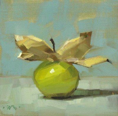 """Flying Tomatillo"" original fine art by Carol Marine"