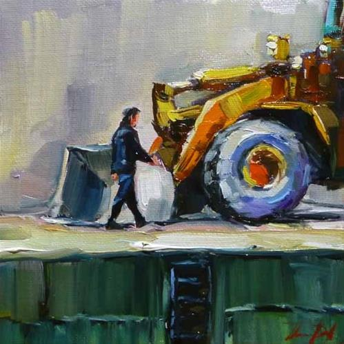 """arbeitsbeginn"" original fine art by Jurij Frey"