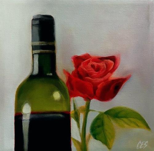 """Red Wine and Rose"" original fine art by ~ces~ Christine E. S. Code"