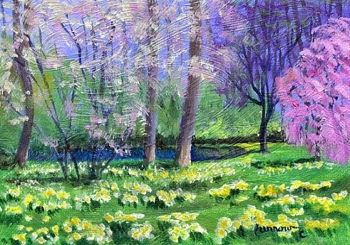 """""""ORIGINAL PAINTING OF SPRING TREES AND DAFFODILS AT A POND"""" original fine art by Sue Furrow"""