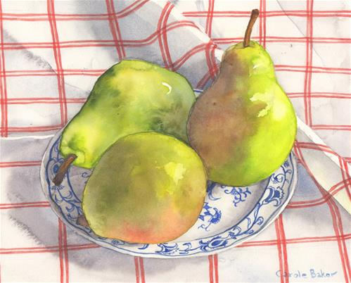 """""""Pears on Red and White Tablecloth"""" original fine art by Carole Baker"""