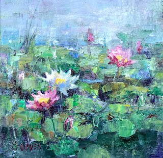 """""""Gray Day At The Pond"""" original fine art by Julie Ford Oliver"""