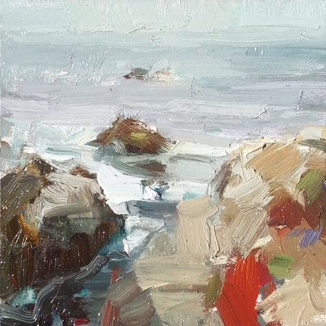 """""""Painting in California 15 Rocks and plantlife (sold)"""" original fine art by Roos Schuring"""