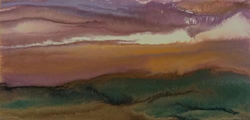 """""""Abstract Landscape,Sunset Art Painting A Thread of Light by Colorado Contemporary Artist Kimberly"""" original fine art by Kimberly Conrad"""