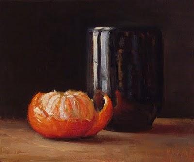 """Peeled Tangerine with Tea Bowl"" original fine art by Abbey Ryan"