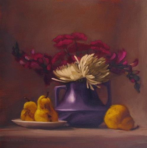 """Mums on Magenta floral still life painting"" original fine art by Diane Hoeptner"
