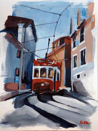 """""""1621 The Tram Ride"""" original fine art by Dietmar Stiller"""
