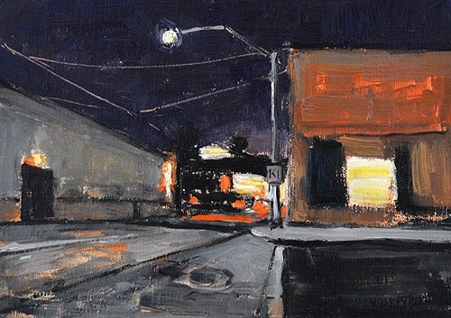 """""""Night Painting on Commercial Street"""" original fine art by Kevin Inman"""