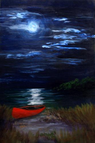 """""""Red Canoe in Moonlight"""" original fine art by Jean Nelson"""
