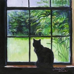 """Cat on Windowsill"" original fine art by Mariko Irie"