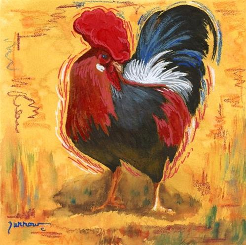 """""""ORIGINAL PAINTING OF KEY WEST ROOSTER"""" original fine art by Sue Furrow"""