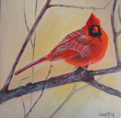 """""""A Winter's Tail, Cardinal Oil Painting"""" original fine art by Linda McCoy"""