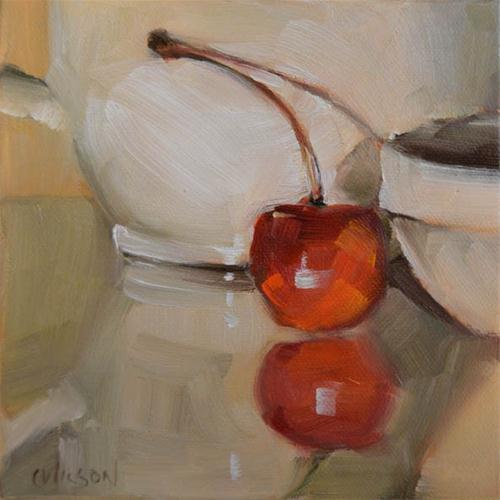 """Cherry with white teapot"" original fine art by Cheryl Wilson"