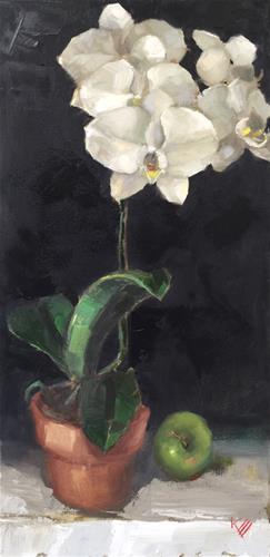 """Orchid & Apple"" original fine art by Krista Eaton"