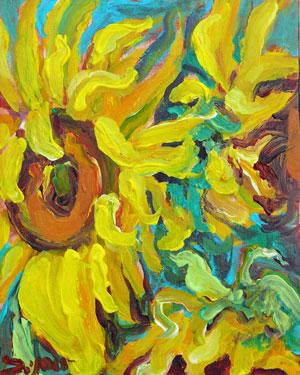 """Sunflowers 2"" original fine art by Darlene Young"