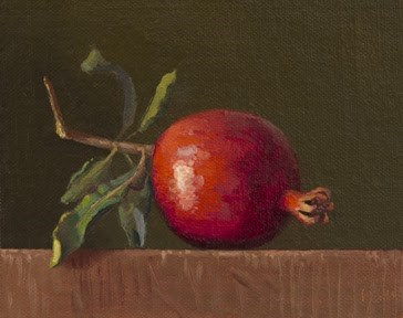 """""""Fresh-Picked Pomegranate with Leaves"""" original fine art by Abbey Ryan"""
