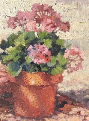 """""""Geranium Lesson"""" original fine art by V.... Vaughan"""