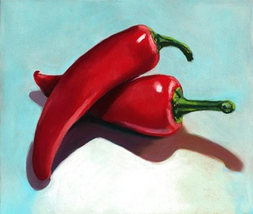 """Red Hot Peppers still life painting"" original fine art by Ria Hills"